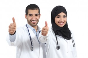 Arab saudi emirates doctors happy with thums up isolated on a white background